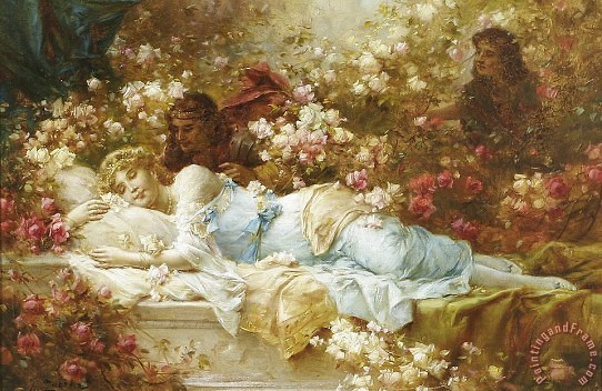 Sleeping Beauty Painting by Hans Zatzka; Sleeping Beauty Art Print for sale