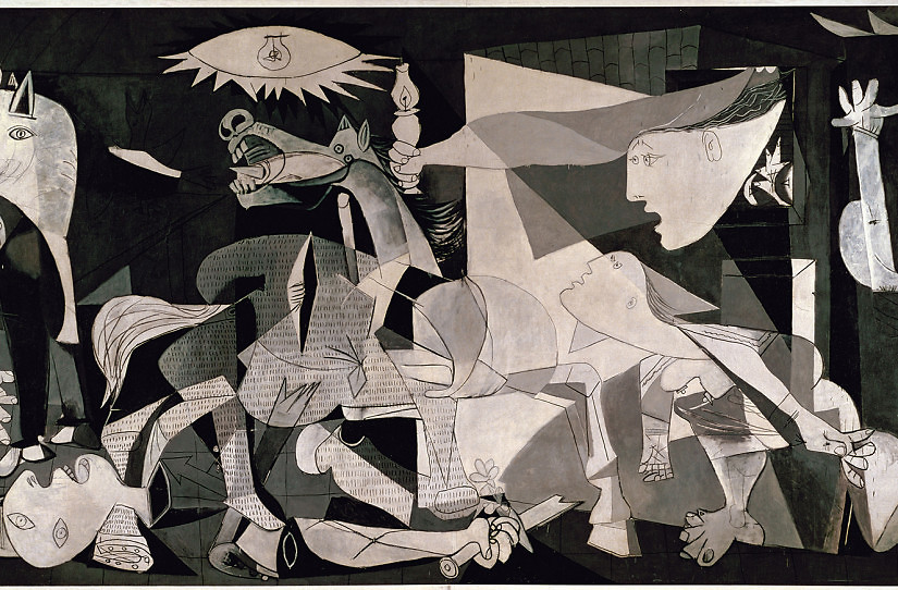 Guernica. Paris, June 4, 1937. Oil on canvas, 349.3 x 776.6 cm    Image licenced to Stephen Forsling FORSLING, STEPHEN by Stephen Forsling  Additional copyright permission to reproduce the work of PABLO PICASSO must be obtained from the Artists Rights Society (ARS), 536 Broadway, 5th Floor, New York, NY 10012. Please contact ARS at (212) 420-9160 or fax (212) 420-9286 or e-mail info@arsny.com.  Usage :  - 3000 X 3000 pixels (Letter Size, A4)   © Erich Lessing / Art Resource