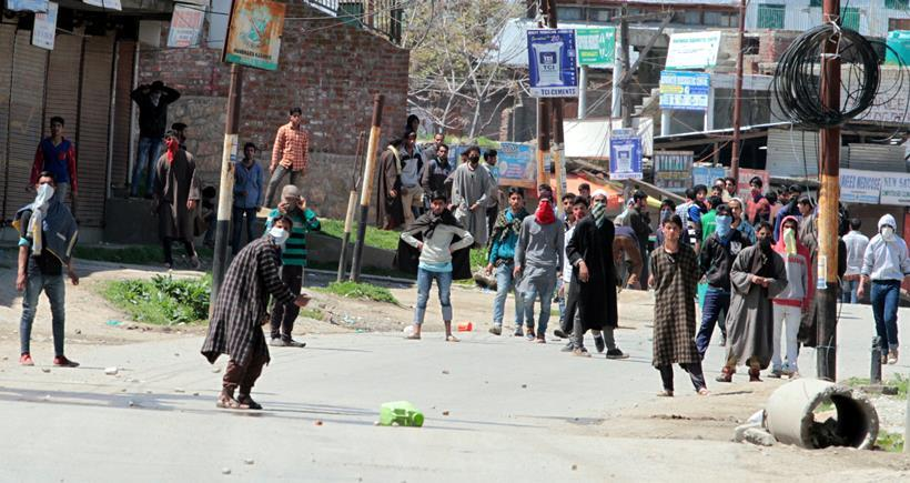 clashes between kashmiri's youth and security personnal in handwara district kupwara  Express Photo by Shuaib Masoodi 13-04-2016