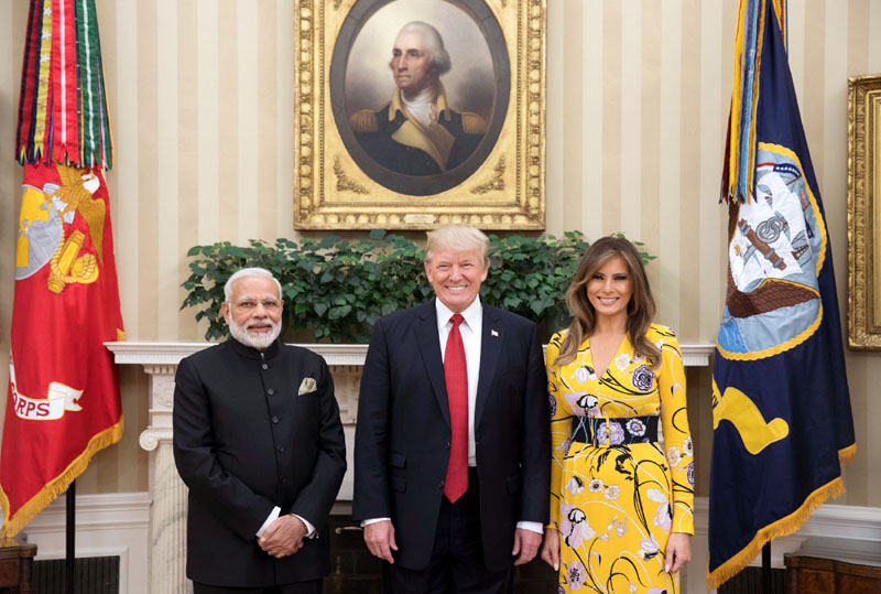 The Prime Minister, Shri Narendra Modi with the President of United States of America (USA), Mr. Donald Trump and the first lady of USA, Melania Trump, at White House, in Washington DC, USA on June 26, 2017.