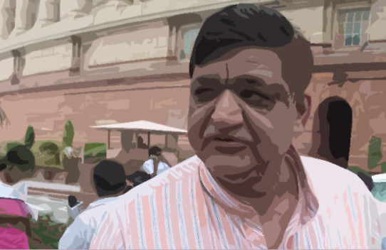 SP MP Naresh Aggarwal  at the Parliament House on Monday. Express Photo by Prem Nath Pandey. 11.08.2014.