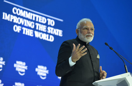 The Prime Minister, Shri Narendra Modi delivering his keynote speech, at the plenary session of the World Economic Forum, in Davos on January 23, 2018.